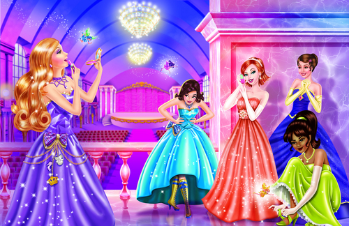 Barbie Movies wallpaper probably with a bridesmaid, a bouquet, and a dinner dress called BARBIE princess charm school