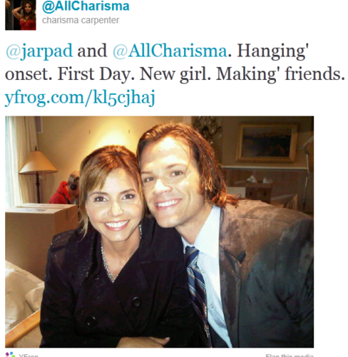 BTS Photo - Charisma Carpenter & Jared Padalecki