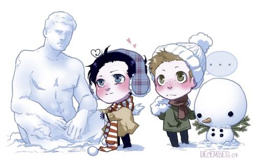Cas & Dean Snowmen