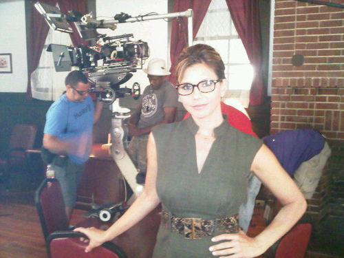 """Charisma Carpenter on the set of """"Haunted High"""""""