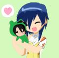 Fabia hugging a Shun plushie