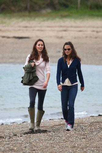 Prince William and Kate Middleton wallpaper titled Kate and Pippa strolling in Llanddwyn Island of Newborough, North Wales (21 August 2011)