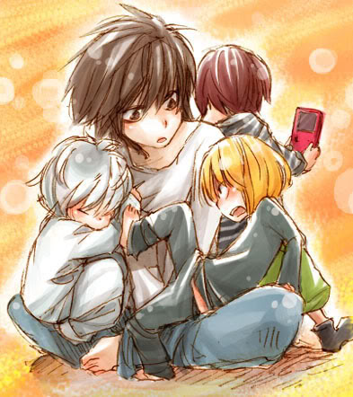 Death Note achtergrond with anime entitled L, Mello, and Near