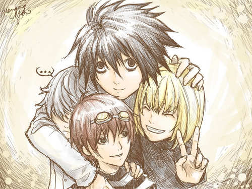 Death Note achtergrond titled L, Mello, and Near