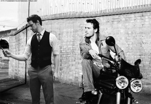James McAvoy and Michael Fassbender 壁紙 probably with a 通り, ストリート and a motorcycle cop entitled McBender!