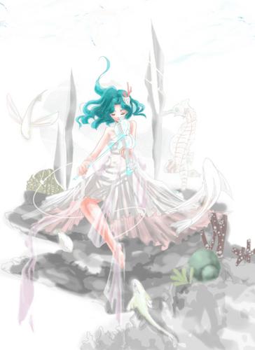 Sailor Uranus and Sailor Neptune karatasi la kupamba ukuta containing a bouquet titled Michiru