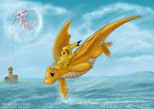 pikachu riding Dragonite