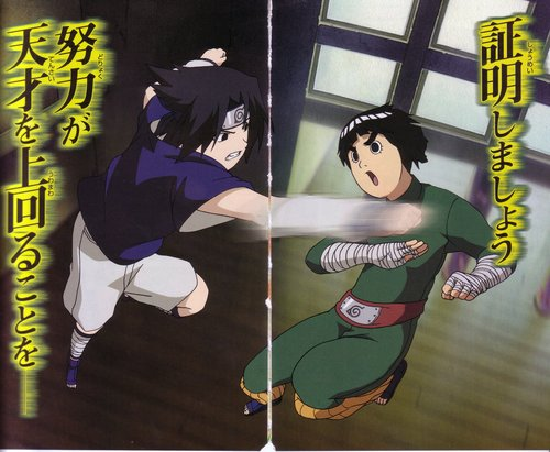 Naruto wallpaper possibly containing anime entitled Sasuke vs. Lee