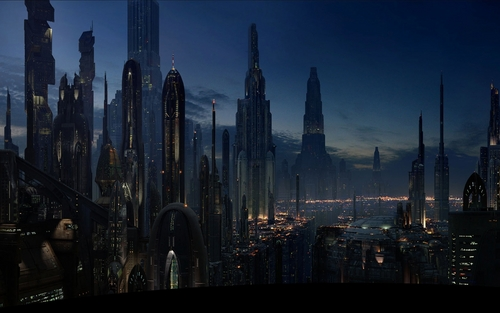 Star Wars wallpaper with a business district entitled Landscape HD : Coruscant (2560/1600)