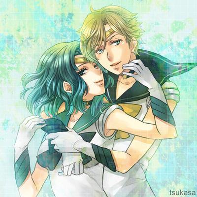 Sailor Uranus and Sailor Neptune karatasi la kupamba ukuta containing anime called Uranus and Neptune