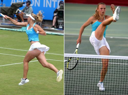 Caroline Wozniacki in Lunging High Kick