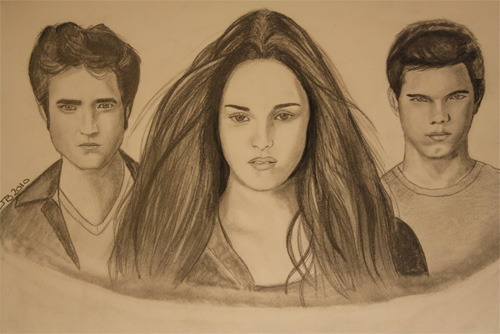 Twilight Series wallpaper possibly with a portrait called edward,bella,jacob