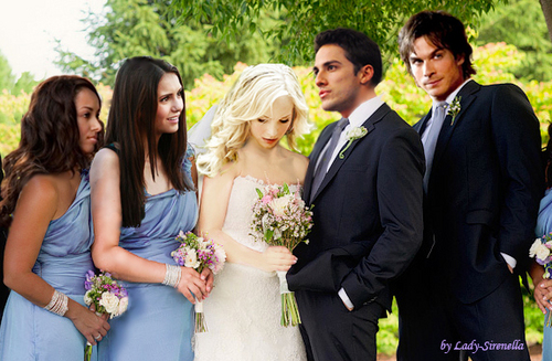 The Vampire Diaries TV tunjuk kertas dinding containing a bridesmaid called wedding hari of Caroline and Tyler