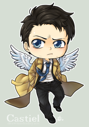 Castiel wallpaper probably with Anime called chibi Cas!