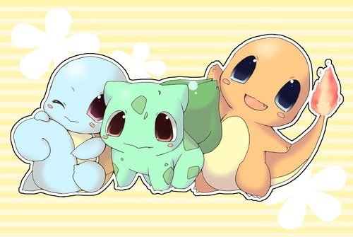 pokemon wallpaper probably containing anime entitled chibi Kanto Starters