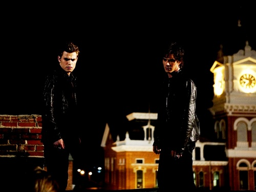 Damon and Stefan Salvatore 壁紙 possibly containing a business suit, a well dressed person, and a hip boot called Damon&Stefan ✯