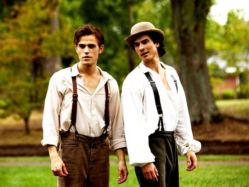 Damon and Stefan Salvatore 壁纸 probably with a business suit, a wicket, and a well dressed person called Damon&Stefan ✯