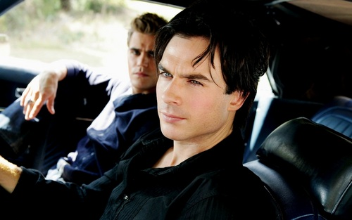 Damon and Stefan Salvatore 壁紙 probably with an automobile and a 通り, ストリート entitled Damon&Stefan ✯