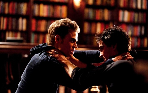 Damon and Stefan Salvatore 바탕화면 with a bookshop, a library, and an athenaeum titled Damon&Stefan ✯