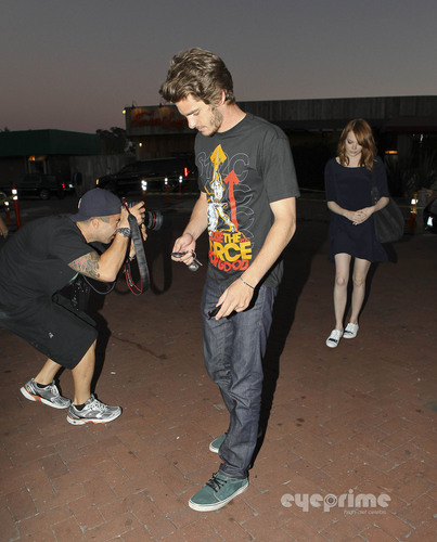Emma Stone and Andrew garfield leaving Nobu Restaurant in Malibu, Aug 25