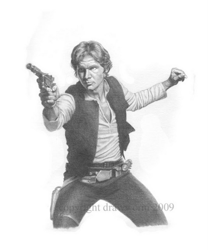 Han Solo Blaster Drawing