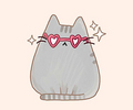 Pusheen & heart-shaped sunglasses