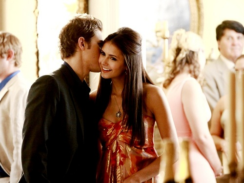 Stefan & Elena wallpaper possibly containing a business suit entitled Stefan and Elena ❤