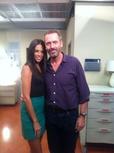 Terri Seymour with Hugh Laurie on set