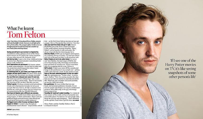 Tom Felton Images The Times Magazine Hd Wallpaper And Background P Os