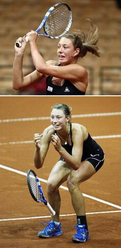 Yanina Wickmayer in Blue Shoe Celebration
