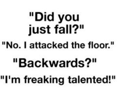 falling on the floor