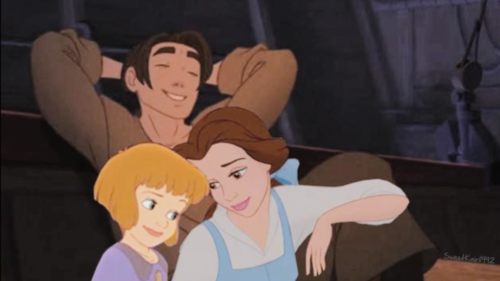 Disney crossover karatasi la kupamba ukuta called jim, jane and belle