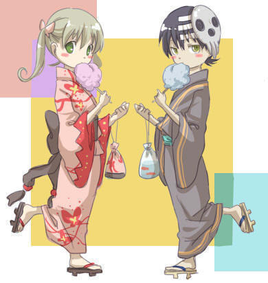 soul eater wallpaper probably with animê called kid x maka