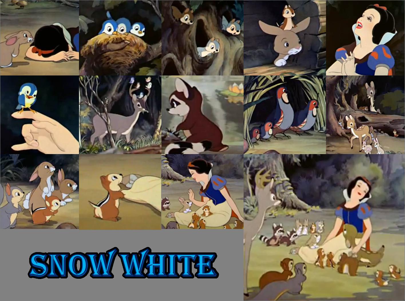 snow white with animals