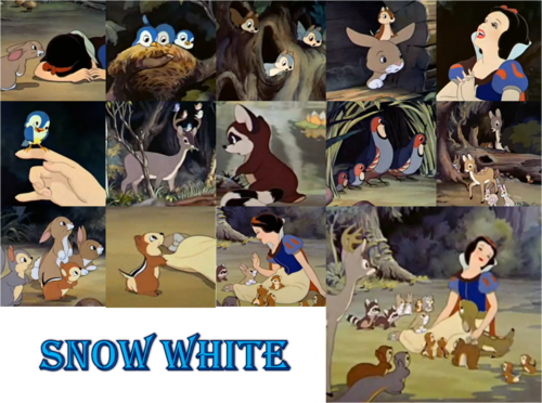 snow white with animales