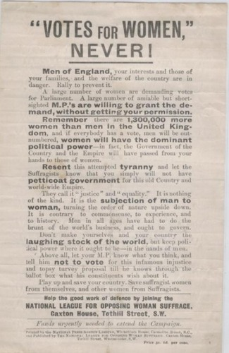 """Votes For Women Never!"" (Anti-Suffrage ad from U.K.)"