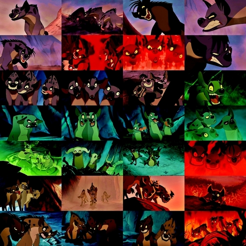 Hyenas from Lion King wolpeyper possibly with anime called Awesome Hyena collage