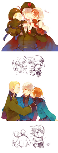 Germany / Italy = HRE / Chibitalia (with Prussia) - hetalia-gerita Photo