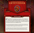 pottermore - Gryffindor welcome message. screencap