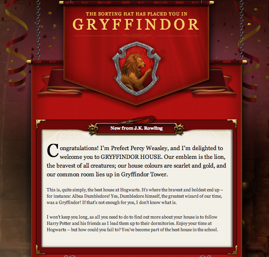 Gryffindor Welcome Message Pottermore Image 24911160