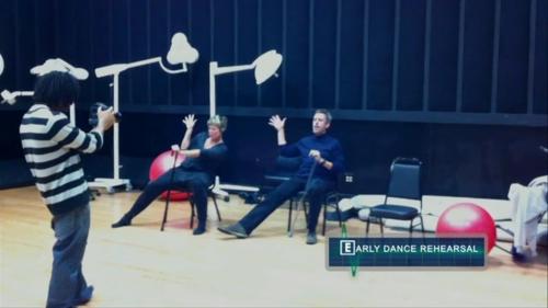 Hugh Laurie rehearsing the dance for Bombshells