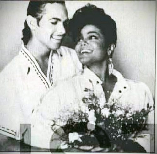 Janet Jackson wallpaper possibly with a portrait entitled JANET JACKSON WITH JAMES DEBARGE RARE WEDDING PHOTO 1984