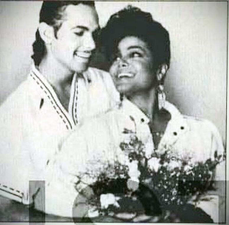 JANET JACKSON WITH JAMES DEBARGE RARE WEDDING foto 1984