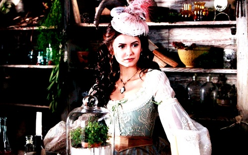 Katherine Pierce Hintergrund probably with a bouquet, a bridesmaid, and a polonäse, polonaise entitled Katherine Pierce ❤
