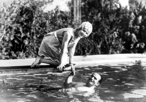 Mary Pickford and Douglas Fairbanks at their nyumbani