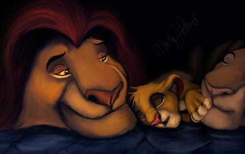 Mufasa,Sarabi and Simba