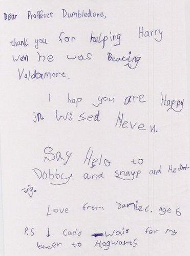 6 سال olds letter to Dumbledore