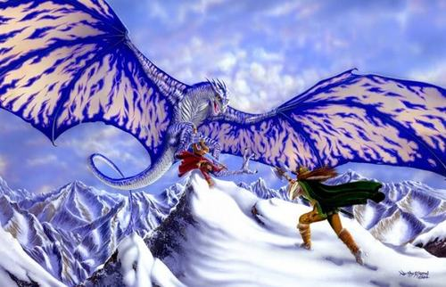 Battling Giant Ice Dragon