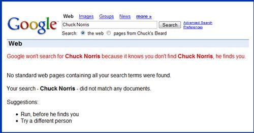 Chuck Norris vs google search...