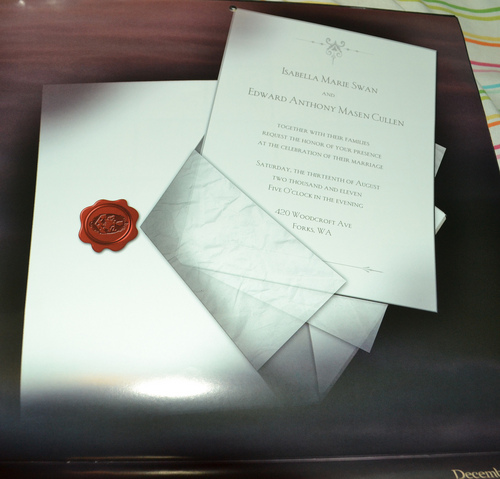 Edward and Bella's wedding invitation
